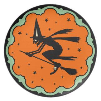 Placa de Halloween de la bruja del vuelo del vinta Platos