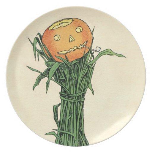 Placa de Halloween del vintage de la Jack-o-Linter Plato