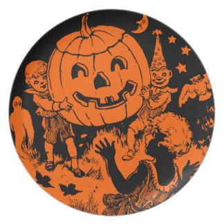Placa de Halloween del vintage Plato