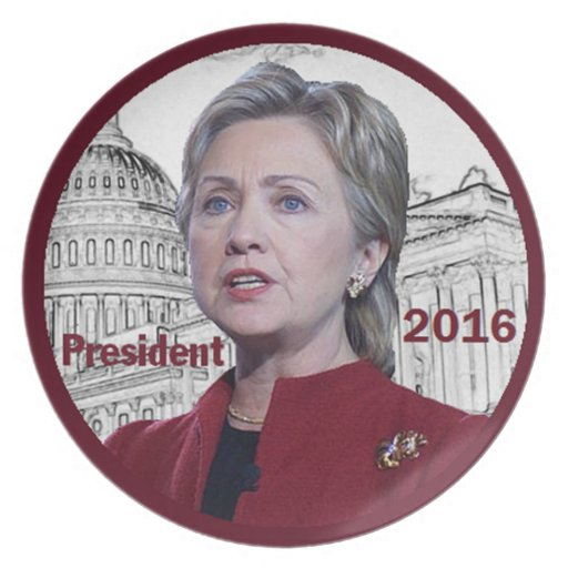 Placa de Hillary 2016 Plato De Comida