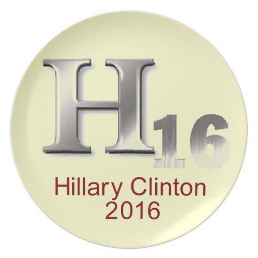 Placa de Hillary 2016 Plato Para Fiesta