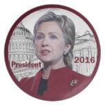 Placa de Hillary 2016 Platos De Comidas