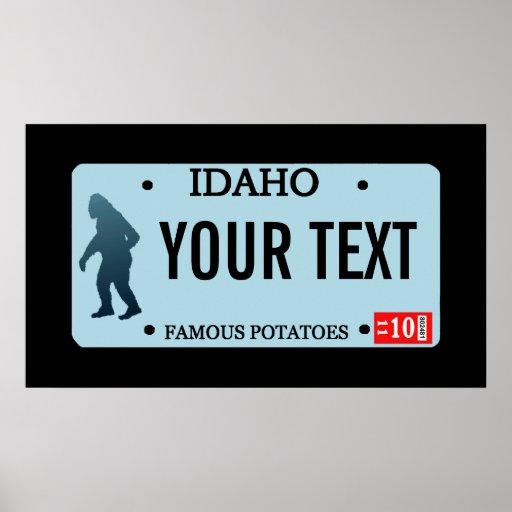 Placa de Idaho Sasquatch Póster