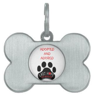 Placa de identificación adoptada y adorada del res placas mascota