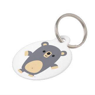 Placa de identificación azul grande linda del oso identificador para mascotas