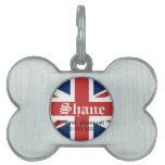 Placa de identificación británica de la bandera placas de mascota