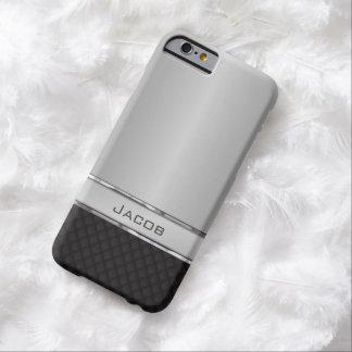 Placa de identificación cepillada elegante de la funda de iPhone 6 barely there