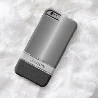 Placa de identificación cepillada elegante del funda para iPhone 6 barely there