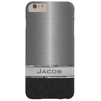 Placa de identificación cepillada elegante del funda para iPhone 6 plus barely there