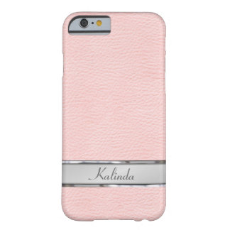 Placa de identificación de cuero rosada del metal funda de iPhone 6 barely there