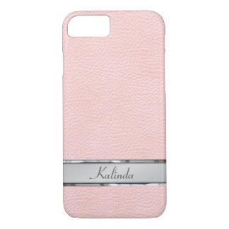 Placa de identificación de cuero rosada del metal funda iPhone 7