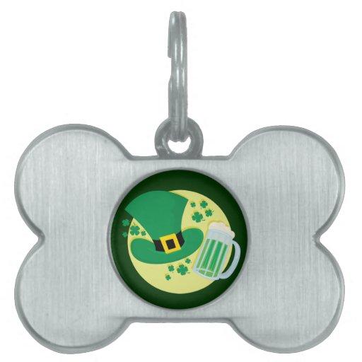 Placa de identificación de la cerveza del verde placa de mascota