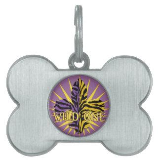Placa de identificación de la flor de lis del tigr placa de mascota