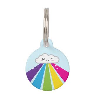 Placa de identificación de la nube y del arco iris placas para mascotas