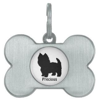 Placa de identificación de la silueta de Westie Placa De Nombre De Mascota