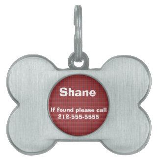 Placa de identificación de la tela escocesa placas de nombre de mascota