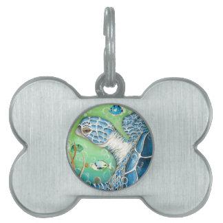 Placa de identificación de la tortuga y de los pes placa de nombre de mascota