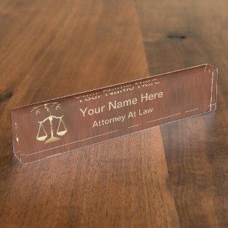 Placa de identificación del ejecutivo del abogado