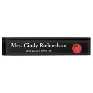 Placa de identificación del escritorio del profeso