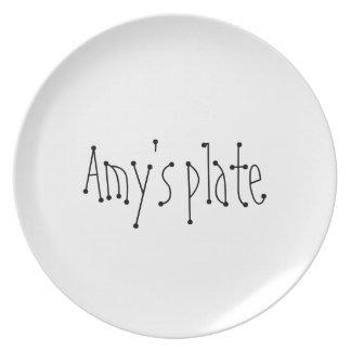 Placa de identificación del personalizado del Amy Plato De Cena