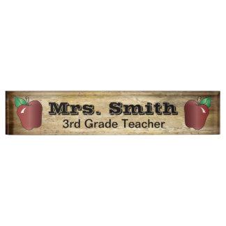 Placa de identificación del profesor de escuela