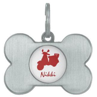 Placa de identificación personalizada bici roja placas de nombre de mascota