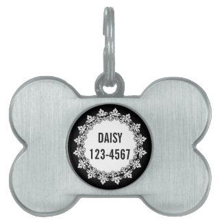 Placa de identificación personalizada flor de lis  placa mascota