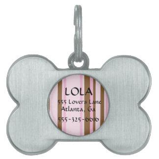 Placa de identificación rayada personalizada del placas de nombre de mascota