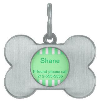 Placa de identificación rayada verde placa de nombre de mascota
