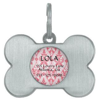Placa de identificación rosada personalizada del h placas de nombre de mascota