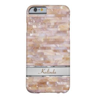 Placa de identificación tejada rosada nacarada del funda para iPhone 6 barely there