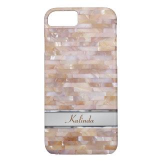 Placa de identificación tejada rosada nacarada del funda iPhone 7