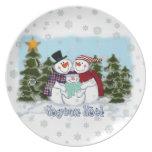 Placa de Joyeux Noel de la familia del muñeco de n Plato