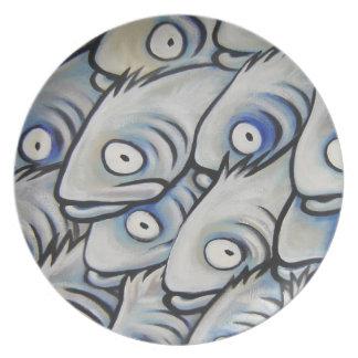 Placa de la abundancia de O de los pescados Platos De Comidas