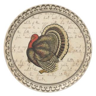 Placa de la acción de gracias de la melamina de la plato para fiesta