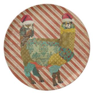 Placa de la alpaca del búho y del oro del trullo plato para fiesta