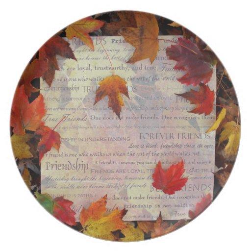 Placa de la amistad de las tarjetas del día de San Platos Para Fiestas