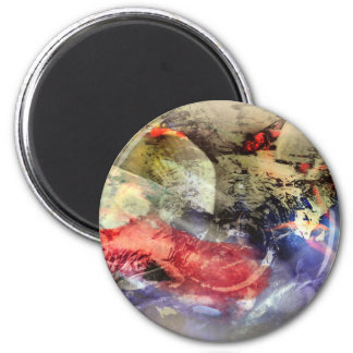 Placa de la antigüedad del extracto del estanque imán redondo 5 cm