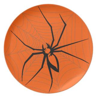 Placa de la araña de Halloween Plato De Cena