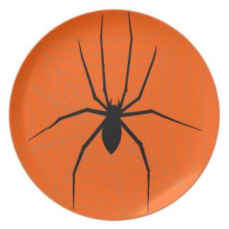 Placa de la araña de Halloween Plato De Comida