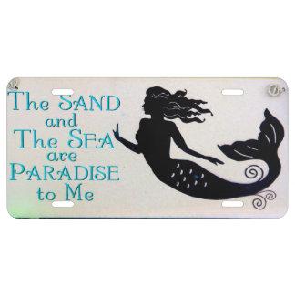 placa de la arena y de la sirena del mar placa de matrícula