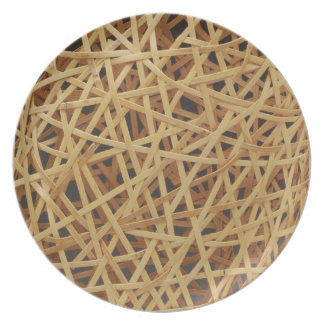 Placa de la armadura del japonés con el bambú plato para fiesta
