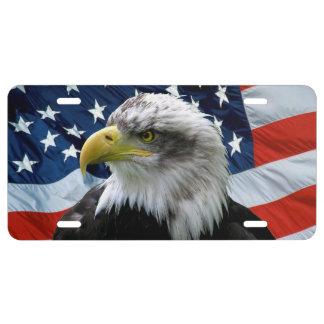 Placa de la bandera americana de Eagle calvo Placa De Matrícula