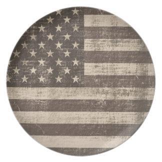 Placa de la bandera americana del vintage platos para fiestas
