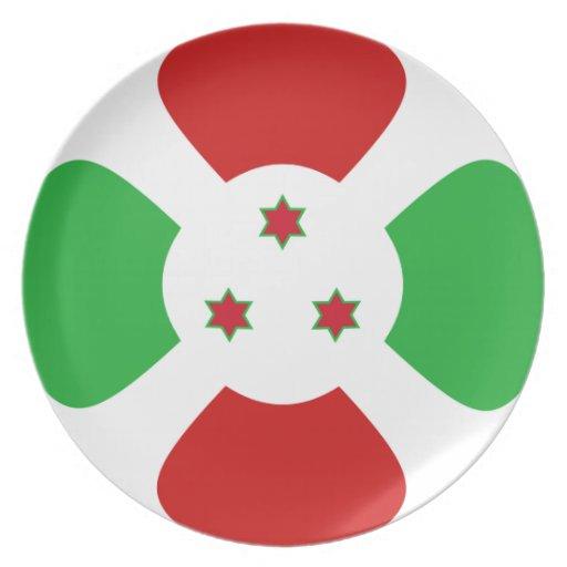 Placa de la bandera de Burundi Fisheye Platos Para Fiestas