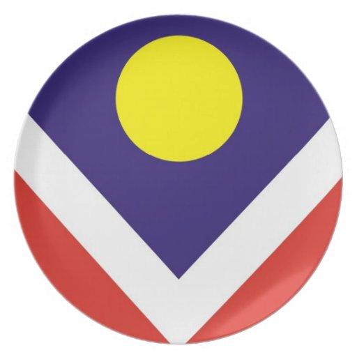 placa de la bandera de la ciudad de Denver Plato De Comida