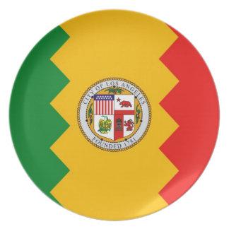 Placa de la bandera de Los Ángeles Platos De Comidas