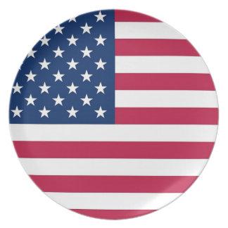 Placa de la bandera de los E.E.U.U. Plato De Cena