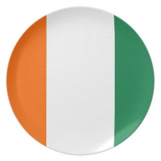 placa de la bandera de país del d'ivoire del corra platos de comidas