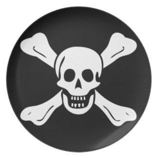 Placa de la bandera de pirata de Richard Worley Plato Para Fiesta